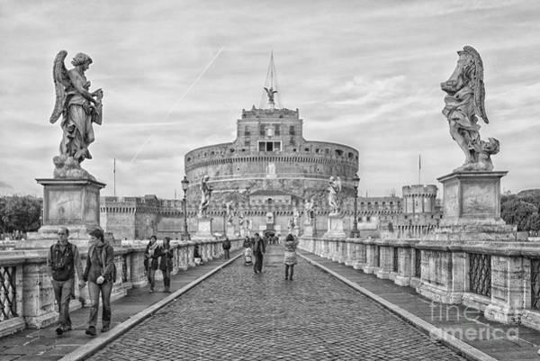 Roman Fort Photograph - Rome Castel Sant Angelo Mono by Antony McAulay