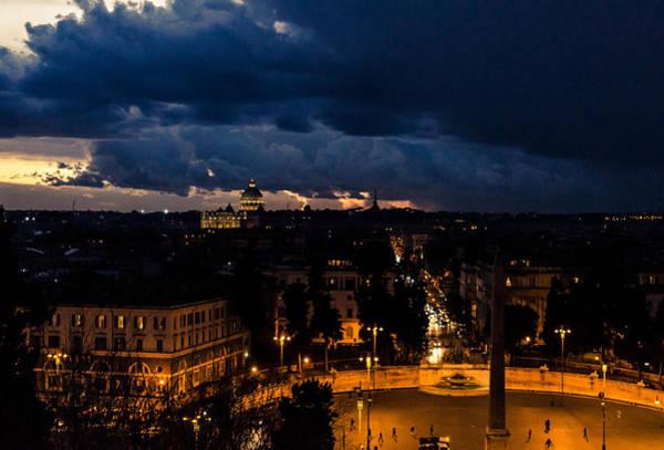 Rome Cityscape At Night  Art Print
