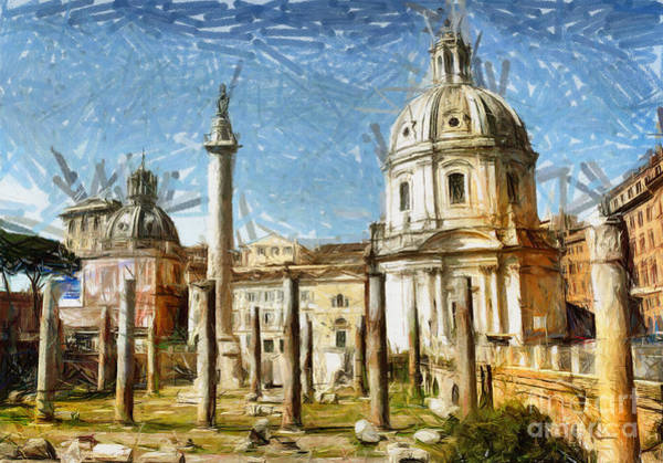 Columns Mixed Media - Rome Italy - Drawing by Daliana Pacuraru