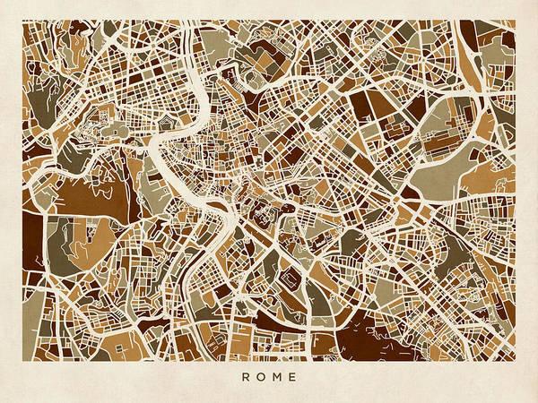Roma Wall Art - Digital Art - Rome Italy Street Map by Michael Tompsett