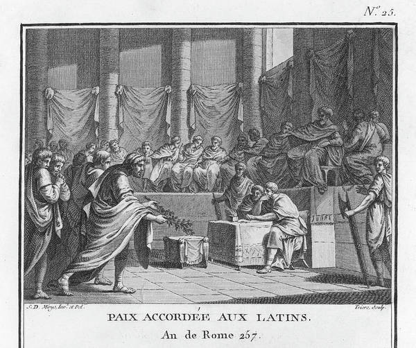 Olive Branch Drawing - Rome Makes Peace With Latium (the by Mary Evans Picture Library