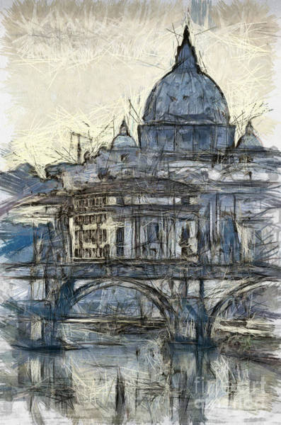 Twilight Drawing - Rome Saint Peters Basilica Sketch by Antony McAulay