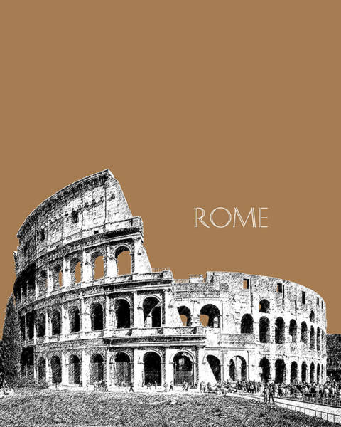 Ancient Architecture Digital Art - Rome Skyline The Coliseum - Brown by DB Artist