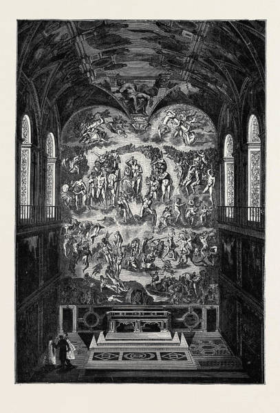 Sistine Chapel Wall Art - Drawing - Rome The Last Judgment, In The Sistine Chapel by Italian School