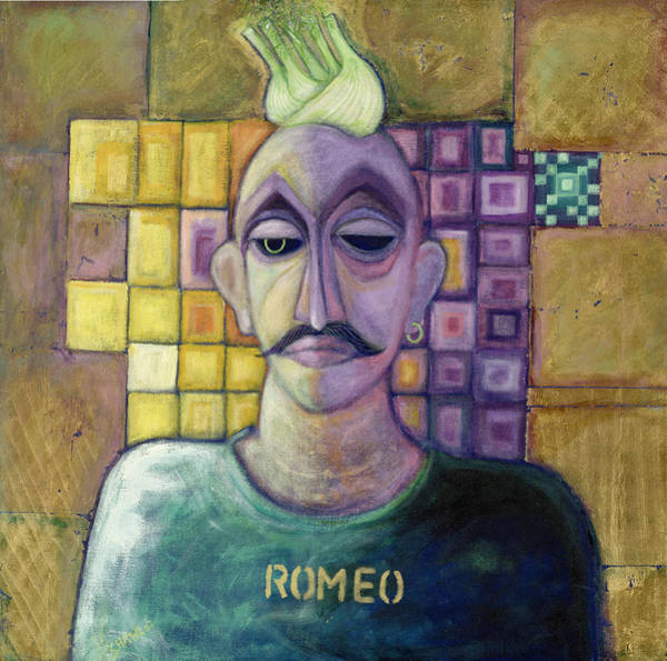 Moustaches Photograph - Romeo, 1970 Acrylic & Metal Leaf On Canvas by Laila Shawa