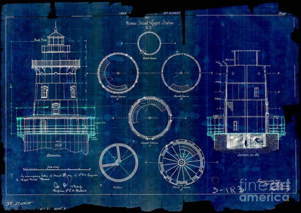 Atlantic Drawing - Romer Shoal Light Station Circa 1838 Blue by Jon Neidert