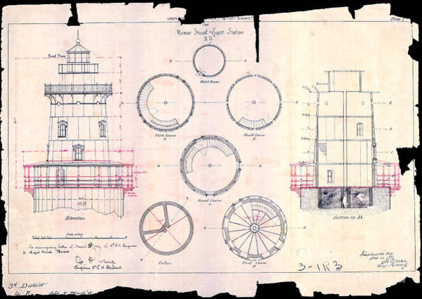 Atlantic Drawing - Romer Shoal Light Station Circa 1838 by Jon Neidert