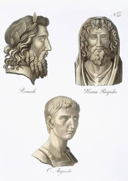 Historian Drawing - Romulus, Numa Pompilius And Augustus by Jacques Grasset de Saint-Sauveur