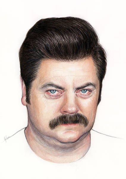 Wall Art - Painting - Ron Swanson Portrait Nick Offerman by Olga Shvartsur