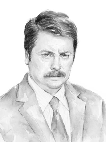 Wall Art - Painting - Ron Swanson  by Olga Shvartsur