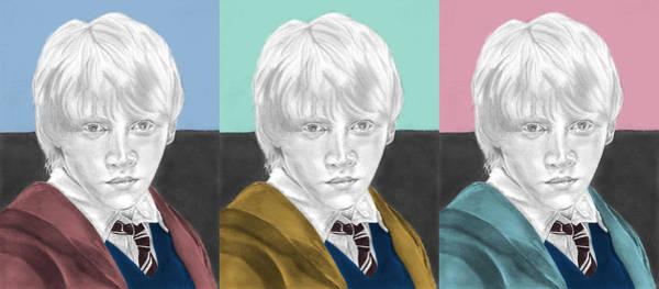 Rupert Grint Wall Art - Drawing - Ron Weasley - 3up One Print  by Alexander Gilbert