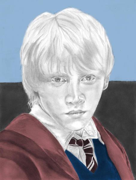 Rupert Grint Wall Art - Drawing - Ron Weasley - Individual Blue by Alexander Gilbert
