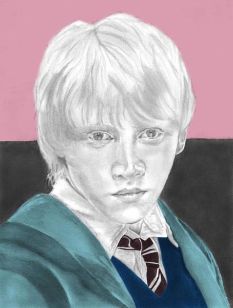 Rupert Grint Wall Art - Drawing - Ron Weasley - Individual Pink by Alexander Gilbert