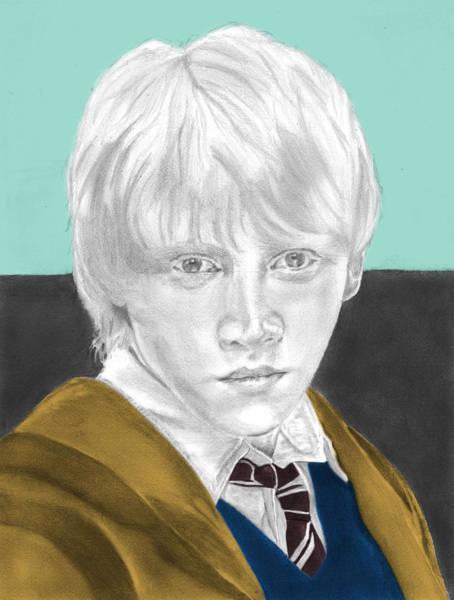 Rupert Grint Wall Art - Drawing - Ron Weasley - Individual Turquoise by Alexander Gilbert