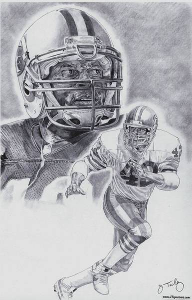 Nfl Drawing - Ronnie Lott by Jonathan Tooley