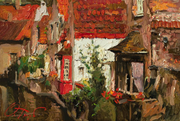 Russian Impressionism Wall Art - Painting - Roofs Of Brugge by Oleg Trofimoff