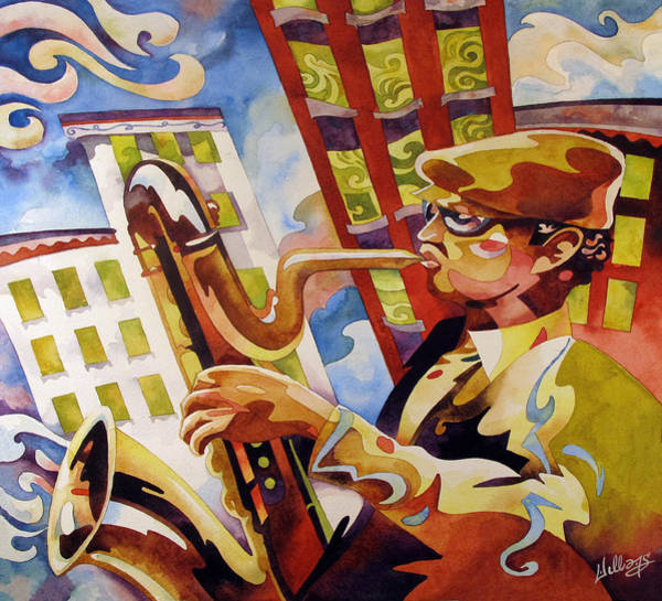 Sax Painting - Rooftop Baritone by Mick Williams
