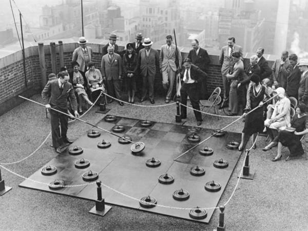 Checker Photograph - Rooftop Giant Checkers Game by Underwood Archives