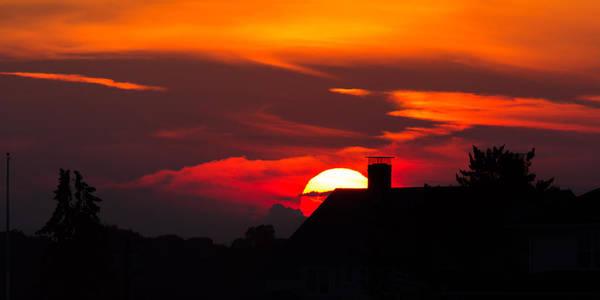 Rooftop Sunset Silhouette Art Print