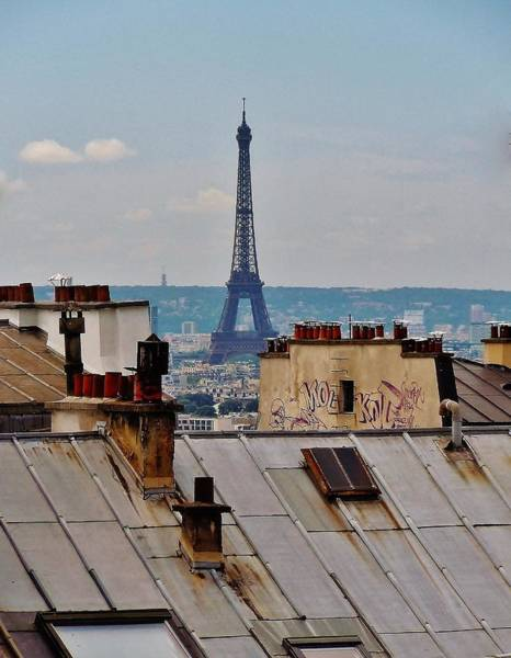 Wall Art - Photograph - Rooftops Of Paris And Eiffel Tower by Marilyn Dunlap