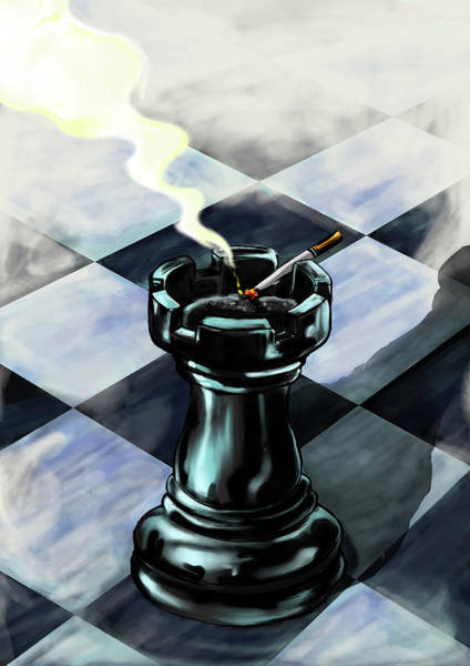 Rook Photograph - Rook Used As An Ash Tray A Chess Board by Fanatic Studio / Science Photo Library