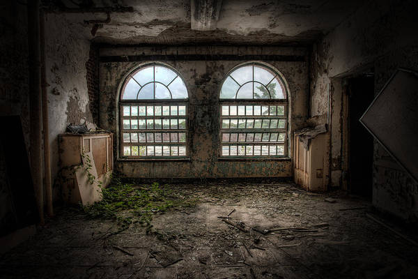 Photograph - Room With Two Arched Windows by Gary Heller