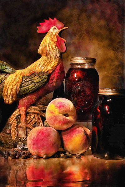 Photograph - Rooster And Peaches by Mary Almond