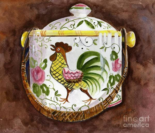 Wall Art - Painting - Rooster And Roses Cookie Jar by Sheryl Heatherly Hawkins