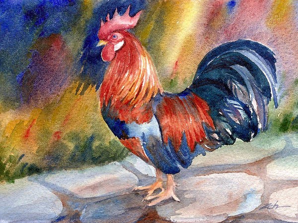 Painting - Rooster At Sunrise by Janet Zeh