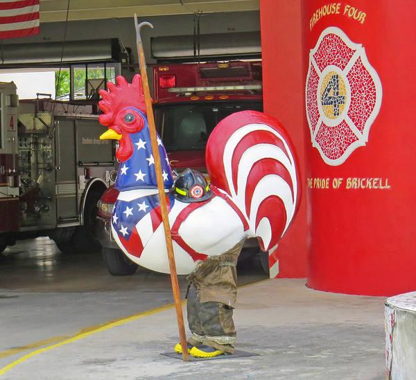 Rooster Fireman Art Print