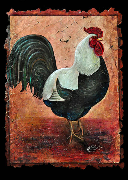 Painting - Rooster Fresco by OLena Art - Lena Owens