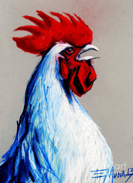 Doodle Painting - Rooster Head by Mona Edulesco