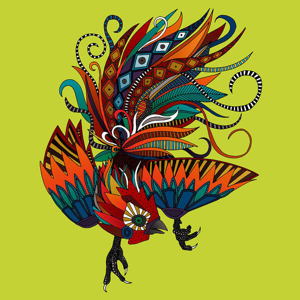 Wall Art - Painting - Rooster Ink Chartreuse by MGL Meiklejohn Graphics Licensing