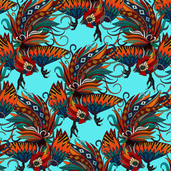Wall Art - Painting - Rooster Ink Turquoise by MGL Meiklejohn Graphics Licensing