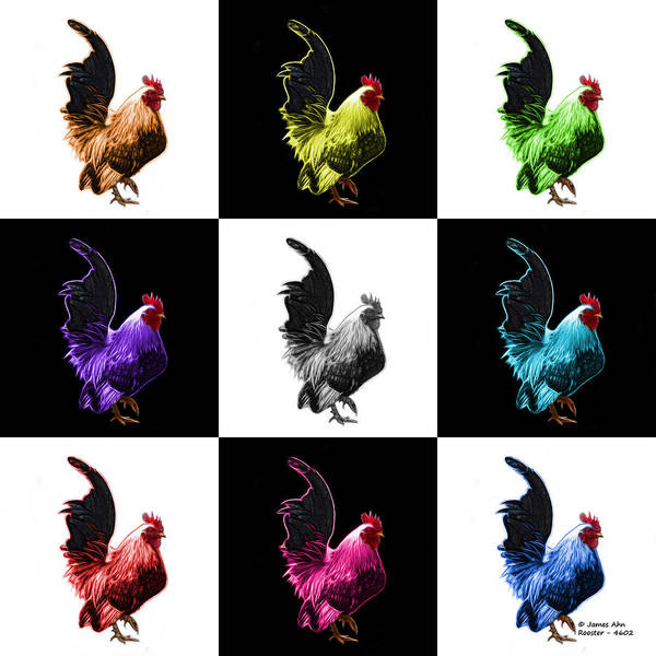 Digital Art - Rooster Pop Art- 4602 - V2 -  M - Modern Animal Art by James Ahn