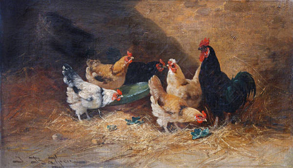 Barnyard Animal Painting - Roosters Circa 1880 by David Lloyd Glover