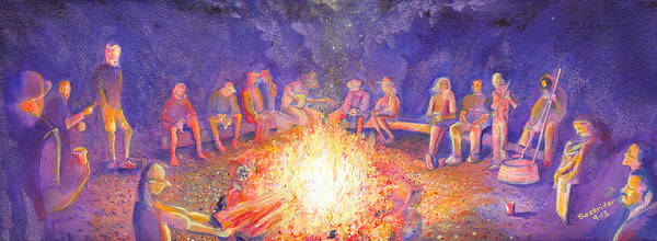 Painting - Roots Retreat Campfire Jam by David Sockrider