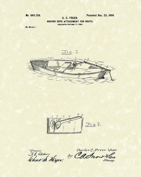 1900 Wall Art - Drawing - Rope Attachment 1900 Patent Art by Prior Art Design