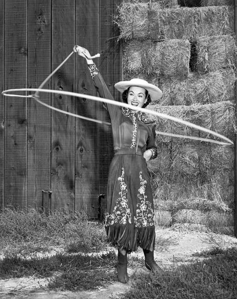 Photograph - Rope Spinning Actress by Underwood Archives