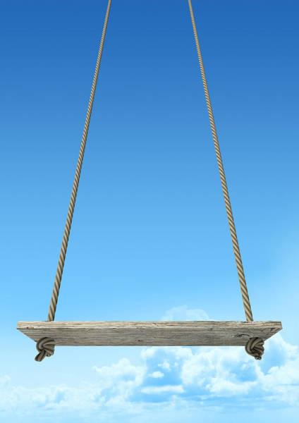 Wooden Digital Art - Rope Swing With Blue Sky by Allan Swart