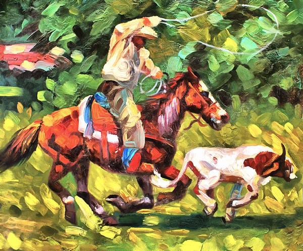 Roping Painting - Roping A Runaway by Studio Artist