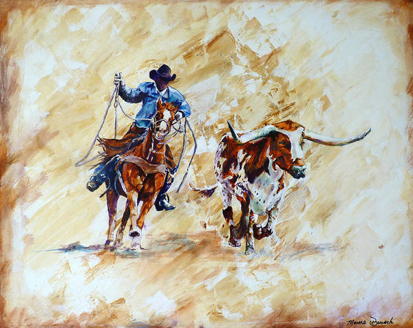 Roping Painting - Roping The Doggie by P Maure Bausch