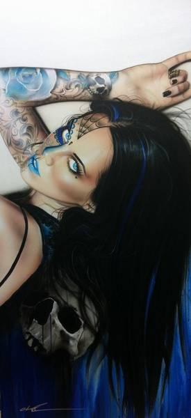 Skull Face Painting - Rosa Azul by Christian Chapman Art