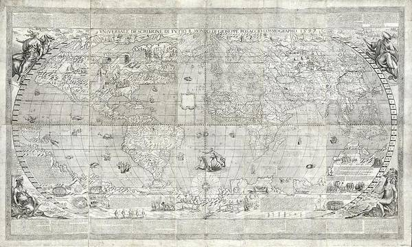 Ferdinand Photograph - Rosaccio World Map by Library Of Congress, Geography And Map Division