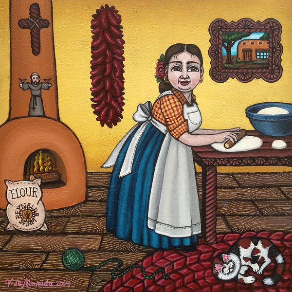 Painting - Rosas Kitchen by Victoria De Almeida