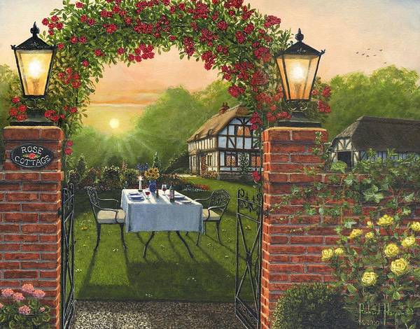 Romantic Realism Painting - Rose Cottage - Dinner For Two by Richard Harpum