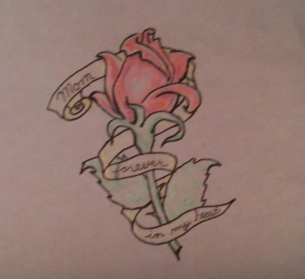 Drawing - Rose For Mom by Thomasina Durkay
