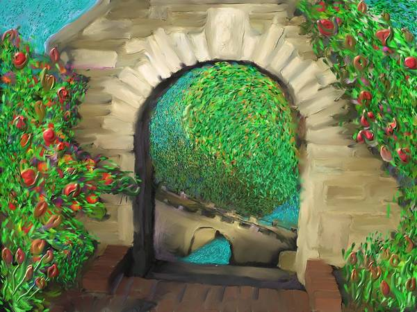 Painting - Rose Garden Gate by Hidden  Mountain