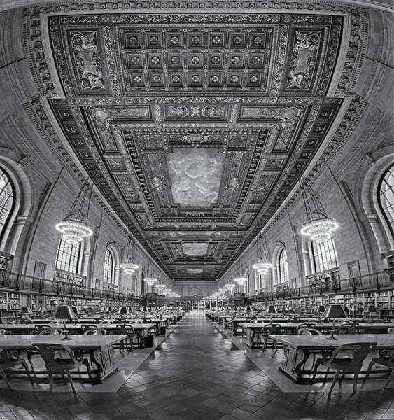 Photograph - Rose Main Reading Room At The Nypl Bw by Susan Candelario