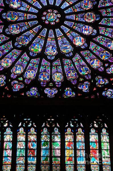University Of Notre Dame Photograph - Rose Window . Famous Stained Glass Window Inside Notre Dame Cathedral. Paris by Bernard Jaubert